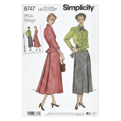 1950s Sewing Patterns | Dresses, Skirts, Tops, Mens 1950s Simplicity 8747 Misses Vintage Suit U5 (Sizes 16-24) $13.77 AT vintagedancer.com