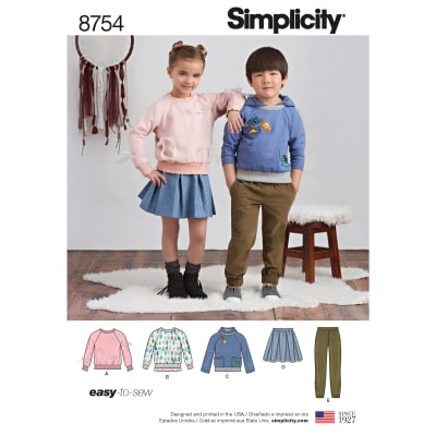 Simplicity 8754 Children's Pants, Skirt and Sweatshirts A (Sizes 3-4-5-6-7-8)