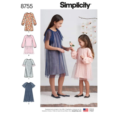 Simplicity 8755 Children's and Girls' Dresses K5 (Sizes 7-8-10-12-14)