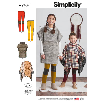 Simplicity 8756 Children's and Girls' Poncho and Leggings HH (Sizes 3-4-5-6)