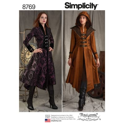 Steampunk Sewing Patterns- Dresses, Coats, Plus Sizes, Men's Patterns Simplicity  8769 Misses Costume Coats H5 (Sizes 6-14) $13.17 AT vintagedancer.com