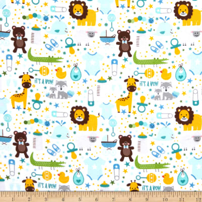 Riley Blake Sweet Baby Boy Flannel Main White