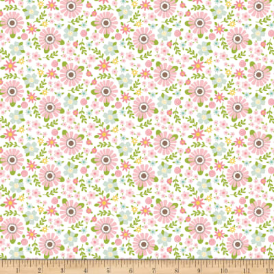 Riley Blake Sweet Baby Girl Garden White