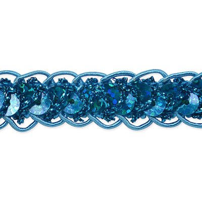 Sequin Cord Braid Trim Turquoise