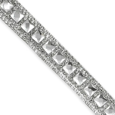 "Olga Gem Rhinestone Iron-on Trim 1/2"" Crystal"