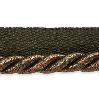 "Gloria 1/4"" Metallic Twisted Lip Cord Trim Metallic Chocolate"