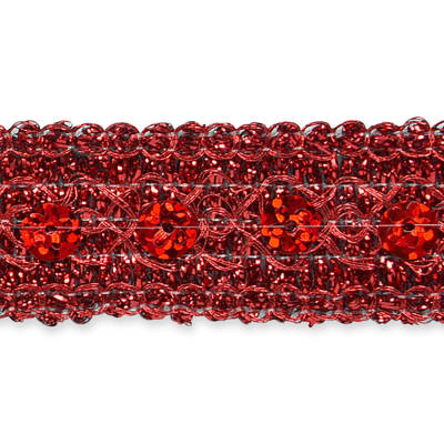 Adriana Sequin Metallic Braid Trim Red