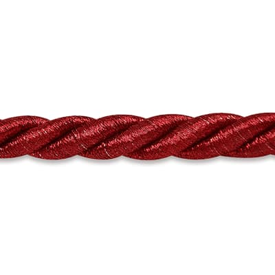 "Holly 3/8"" Metallic Twisted Cord Trim Metallic Red"