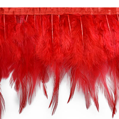 Julie Feather Fringe Trim Red