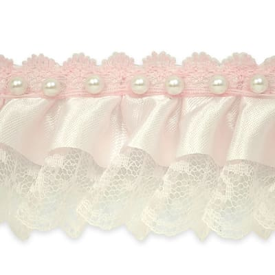 """Bradshaw 2"""" Pearl Accent Ruffled Lace Trim Baby Pink"""