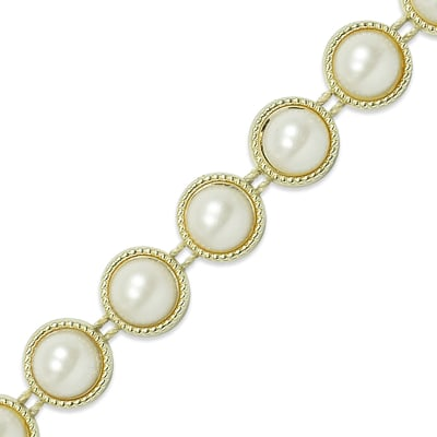 "Meeka Flat-Back Gold Pearl Trim 1/2"" Gold"