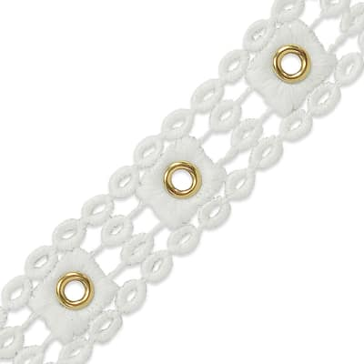 "Michelle Bond Brass Eyelet Lace Trim 1"" Natural"