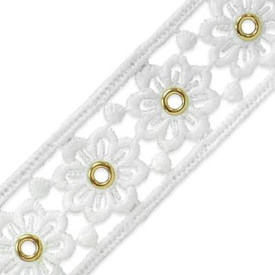 """Elaine Summer's Meadow Eyelet Lace Trim 1 1/2"""" Natural"""