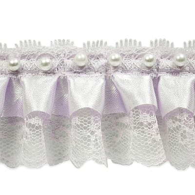 "Bradshaw 2"" Pearl Accent Ruffled Lace Trim Lilac"