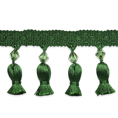 Tied Tassel Trim with Beads Hunter Green