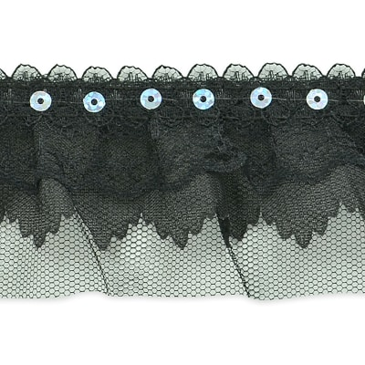 "Elenor Sequin Embellished Lace Trim 2 1/6"" Black"