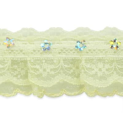 """Aria 1 1/4"""" Sequin Ruffle Lace Trim Ivory"""