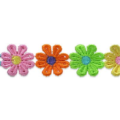 Daisy Flower Trim  Multi Colors