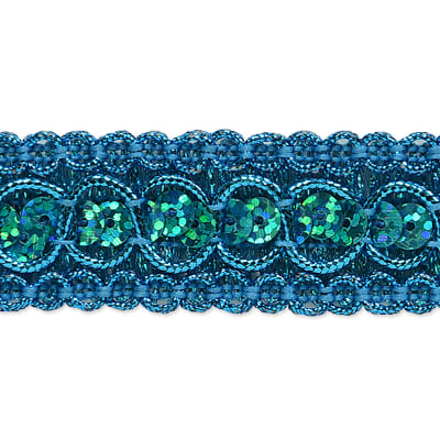 Trish Sequin Metallic Braid Trim Turquoise