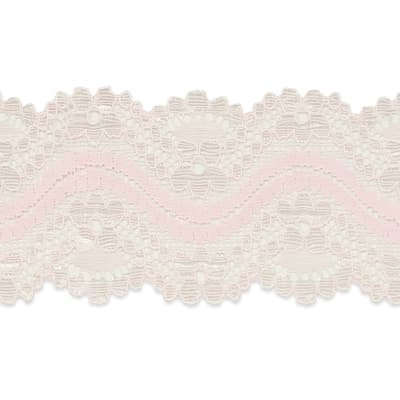 "Cora 1 1/2"" Stretch Raschel Lace Trim Pink"