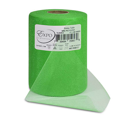 """Shiny 6"""" Tulle (Spool, 100 Yards) Green"""