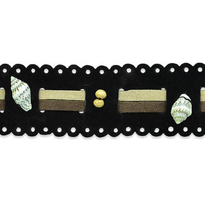 Beaded Faux Suede with Shells Trim Black Multi (Precut, 10 Yards)