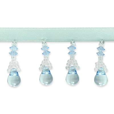 Margie Beaded Fringe Trim Light Blue (Precut, 10 Yards)