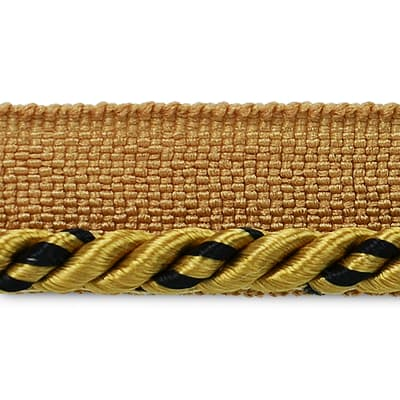 "Ebony 1/8"" Twisted Lip Cord Trim Gold/ Brown (Precut, 20 Yards)"
