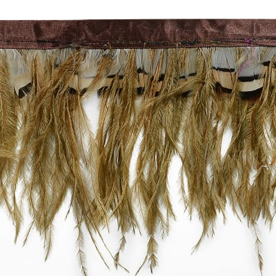 Ostrich and Tiger Feather Fringe Trim Brown (Precut, 10 Yards)
