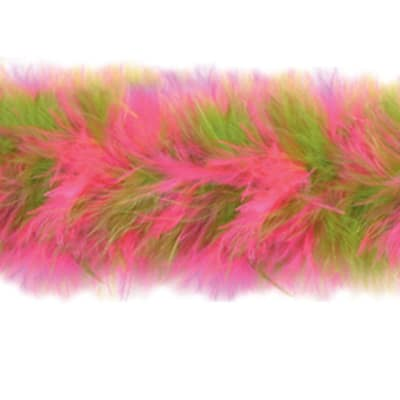 Marabou Feather Boa Trim Lime / Fuchsia (Precut, 10 Yards)