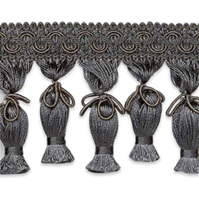 Tied Tassel Fringe Trim Pewter (Precut, 10 Yards)