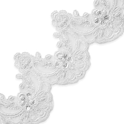 Noreen Embr. Lace Trim w/Pearls & Sequin White (Precut, 14 Yards)