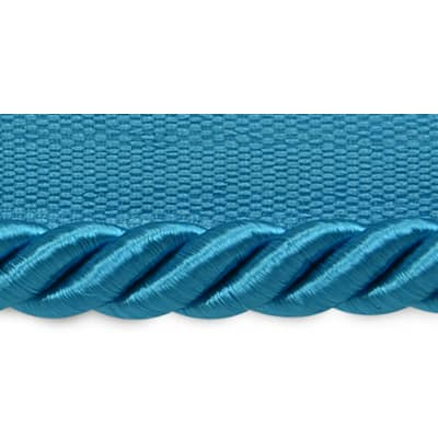 "Hilda 3/8"" Twisted Lip Cord Trim Turquoise (Precut, 20 Yards)"
