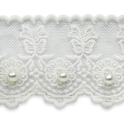 Roses with Bow Bridal Lace Trim White (Precut, 15 Yards)