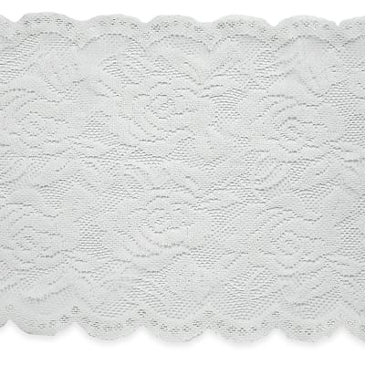 "Ally 5 1/2"" Stretch Chantilly Lace Trim Ivory (Precut, 10 Yards)"