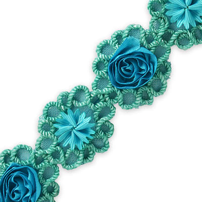 Rosette & Embroidery Flower Trim Turquoise (Precut, 10 Yards)