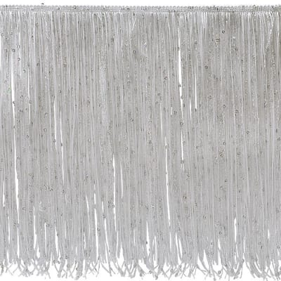 "12"" Starlight Hologram Sequin Chainette Fringe Trim White (Precut, 20 Yards)"