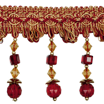 Toni Cube Bead Fringe Trim Cranberry Multi (Precut, 20 Yards)
