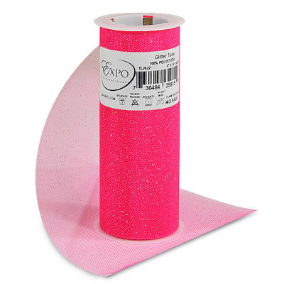 """Glitter 6"""" Tulle (Spool, 10 Yards)   Neon Pink and Silver"""