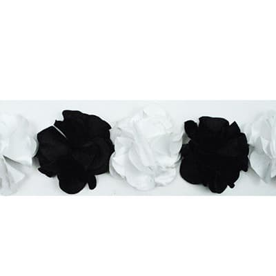 Satin Look Flower Fabric Trim Black/ White (Precut, 10 Yards)
