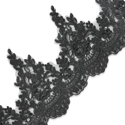 Marie Embroidered Organza Lace Trim with Pearls and Sequin Black (Precut, 14 Yards)