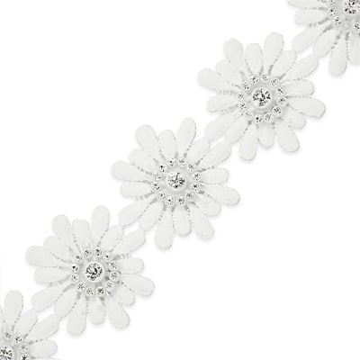 Krystal Rhinestone Daisy Flower Trim White (Precut, 15 Yards)