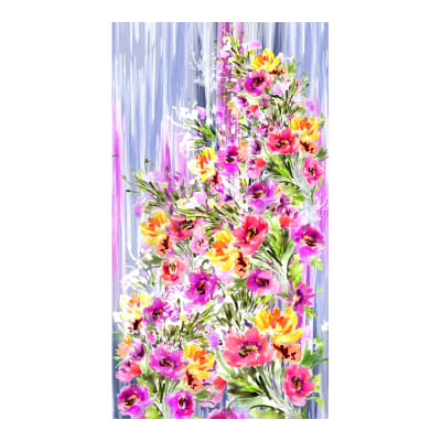 "Timeless Treasures Digital Blossom 24"" Watercolor Bouquet Panel Muilti"
