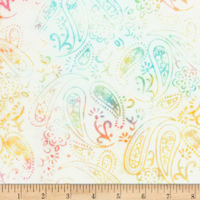 Timeless Treasures Tonga Batik Buttercream Garden Paisley Air