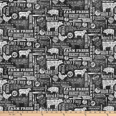 Northcott Farm To Table Butcher Cuts Black/White