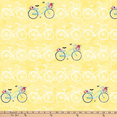 Northcott April Showers Bicycles Yellow Multi