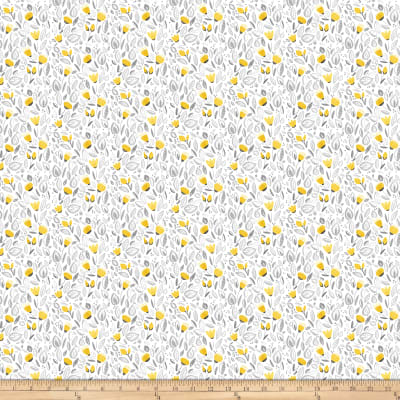 Northcott Sew Sweet Packed Floral White/Yellow/Gray
