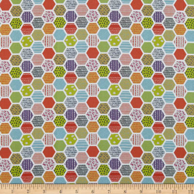 In The Beginning Fabrics Doodle Blossoms Hexagons Multi