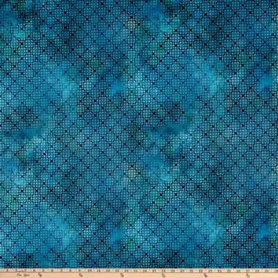 In The Beginning Fabrics Diaphanous By Jason Yenter Trellis Turquoise