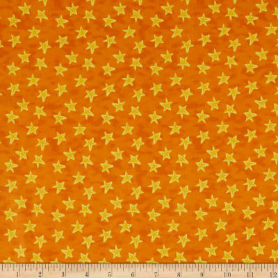 In The Beginning Fabrics Happy Birthday Stars Digital Print Orange